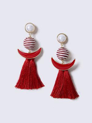 Gina Tricot örhängen Red Fabric Stripe Tassel Drop Earrings