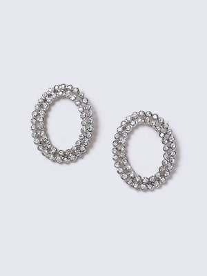 Gina Tricot örhängen Crystal Rhodium Oval Stone Earrings