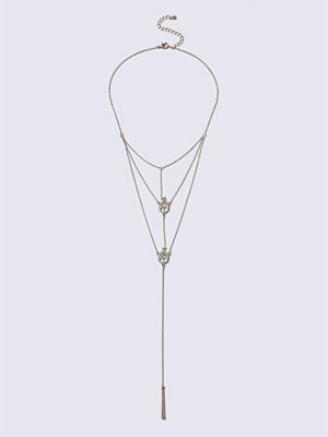 Gina Tricot halsband Rose Gold Crystal Multi Row Long Necklace