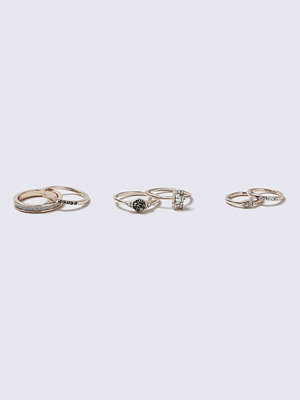 Gina Tricot Grey Pretty 6 Pack Rings
