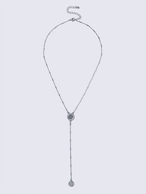 Gina Tricot halsband Silver Rhodium Circle Y Neck Necklace