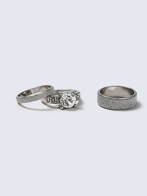 Gina Tricot Silver Glitter 3 Pack Rings
