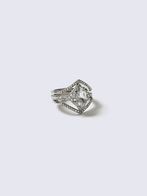 Gina Tricot Silver Crystal Triangle Interlink Ring