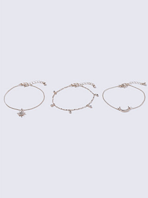 Gina Tricot armband Rose Gold Star And Moon Bracelet Pack