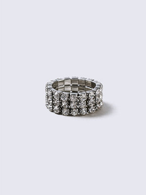 Gina Tricot Silver Crystal Stretch Ring