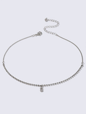 Chokers - Gina Tricot Silver Crystal S Initial Choker