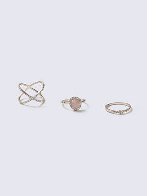 Gina Tricot Pastel Pink Pretty Fine Rings