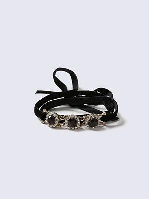 Gina Tricot armband Black Fabric Stone Wrap Bracelet