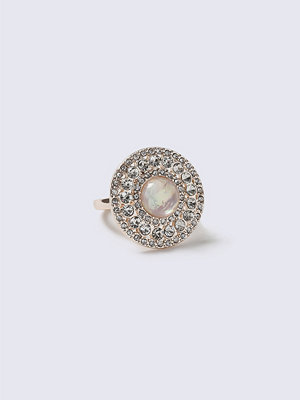 Gina Tricot Crystal Round Stone Ring