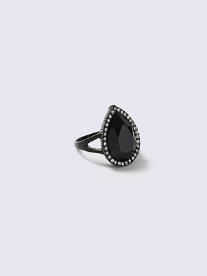 Gina Tricot Black Oval Stone Ring