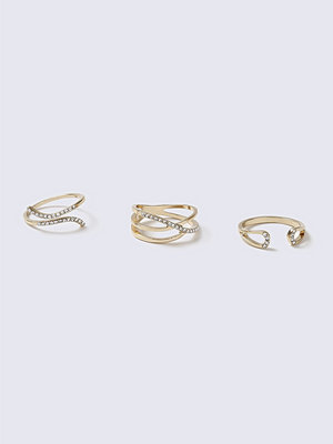 Gina Tricot Gold Swirl 3 Pack Rings