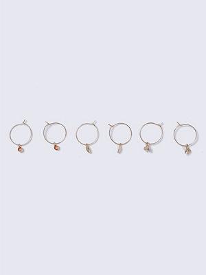 Gina Tricot örhängen Pink Gold Charm Hoop Earrings