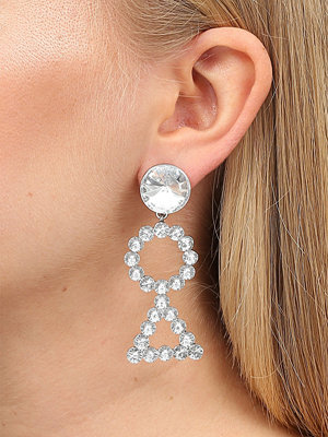 Gina Tricot örhängen Crystal Rhodium Triangle Drop Earrings