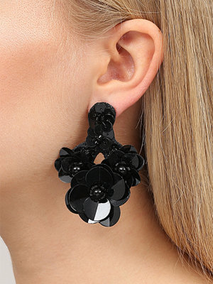 Gina Tricot örhängen Black Sequin Flower Drop Earrings
