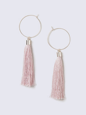 Gina Tricot örhängen Pastel Pink Tassel Hoop Earrings