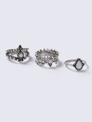 Gina Tricot Silver Textured Stone Ring Pack