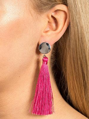 Gina Tricot örhängen Fuchsia Tassel Drop Disc Earrings