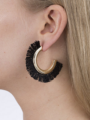 Gina Tricot örhängen Black Outer Tassel Hoop Earrings
