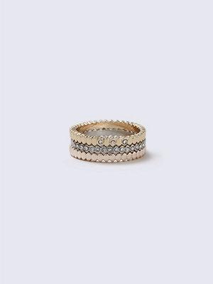 Gina Tricot Mixed Metal Rhinestone Ring Multipack