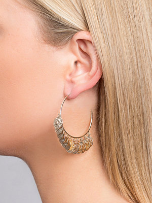 Gina Tricot örhängen Gold Look Coin Hoop Earrings