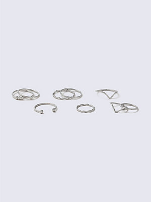 Gina Tricot Rhodium Fine Ring Multipack