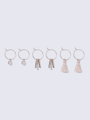 Gina Tricot örhängen Rose Gold Pink Tassel Multipack Earrings
