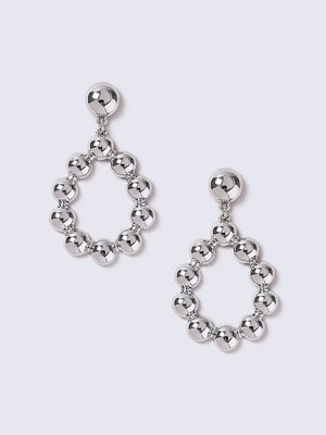 Gina Tricot örhängen Silver Bobble Drop Hoop Earrings