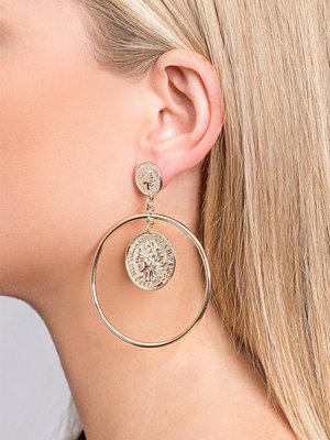 Gina Tricot örhängen Gold Look Coin Hoop Earrings