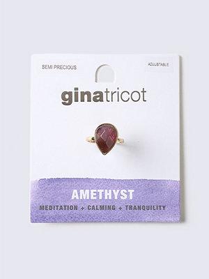Gina Tricot Amethyst Semi Precious Oval Stone Ring