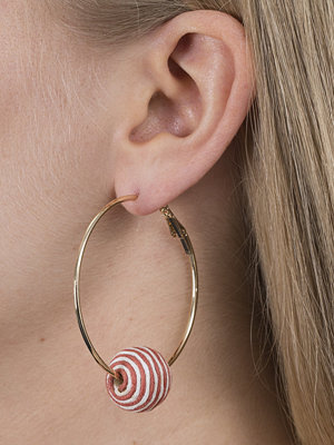 Gina Tricot örhängen Red Stripe Ball Hoop Earrings