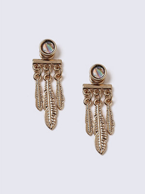 Gina Tricot örhängen Gold Look Feather Front And Back Earrings