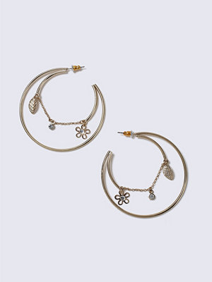 Gina Tricot örhängen Gold Look Charm Hoop Earrings
