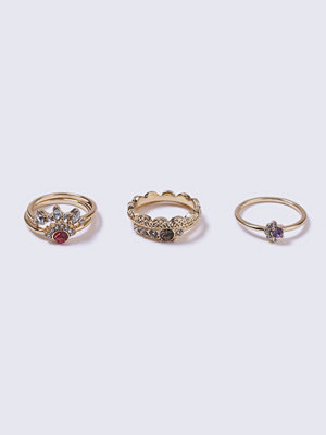 Gina Tricot Gold Look Pink Rhinestone Multipack Rings