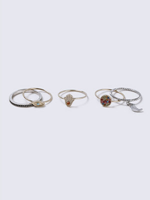 Gina Tricot Fatima Mixed Metal Ring Pack