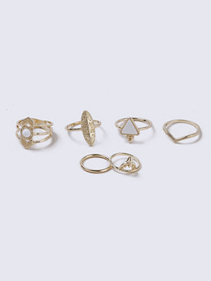 Gina Tricot Ethnic Engraved Gold Ring Pack