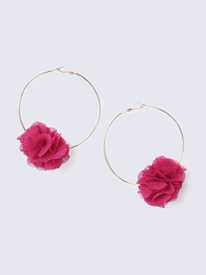 Gina Tricot örhängen Pink Flower Hoop Earrings
