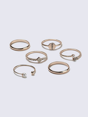 Gina Tricot Rose Gold Pearl Ring Multipack