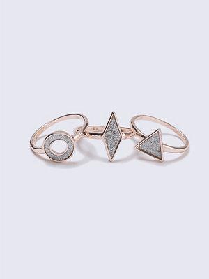 Gina Tricot Rose Gold Glitter Shape Rings