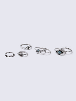 Gina Tricot Ethnic Stone Ring Multipack