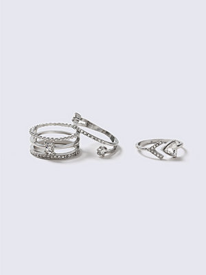 Gina Tricot Rhinestone Stack Ring Multipack