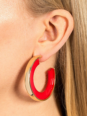 Gina Tricot örhängen Red Resin Gold Look Hoop Earrings