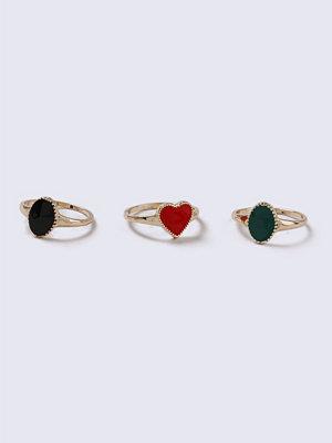 Gina Tricot Multi Heart Enamel Ring Pack