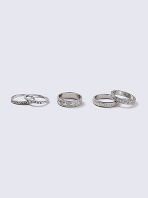 Gina Tricot Silver Look Ethnic Ring Pack