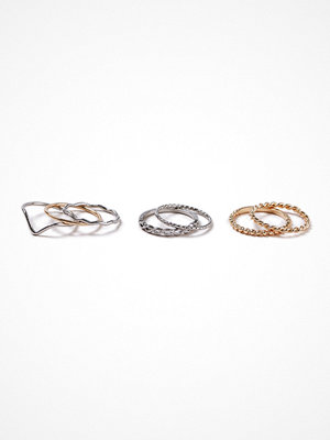 Gina Tricot Mixed Metal Twist Ring Pack
