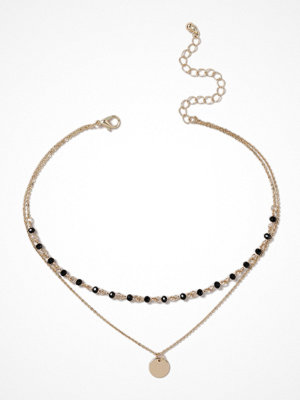 Gina Tricot halsband Gold Look Choker with Black Beads