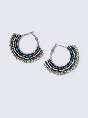 Gina Tricot örhängen Turqoise Beaded Hoop Earrings