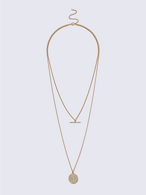 Gina Tricot halsband Gold Look T Bar Coin Necklace
