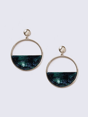 Gina Tricot örhängen Gold Look Half Circle Green Earrings