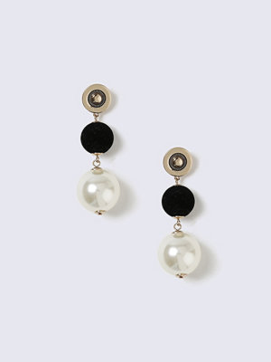 Gina Tricot örhängen Gold Look Earring With Fabric & Pearl Drop