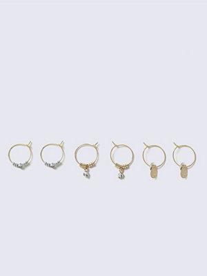 Gina Tricot örhängen Gold Look Mini Charm Hoop Multipack